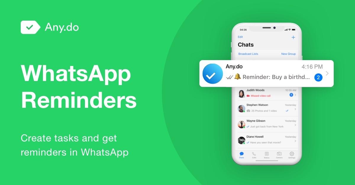 Zasílat úkoly a připomínky přes WhatsApp? Nově pomocí Any.do