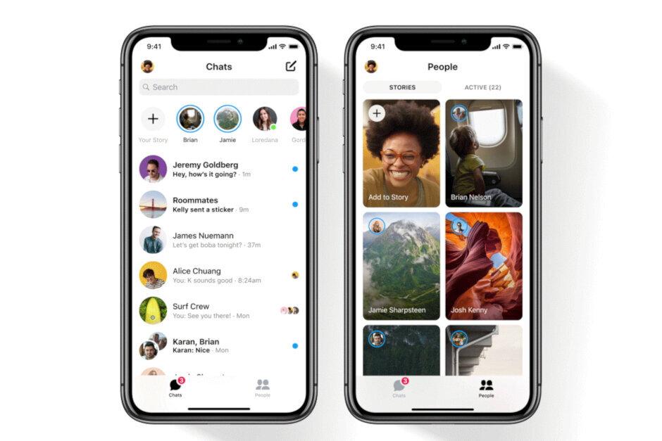 Snímky obrazovek z aplikace Messenger